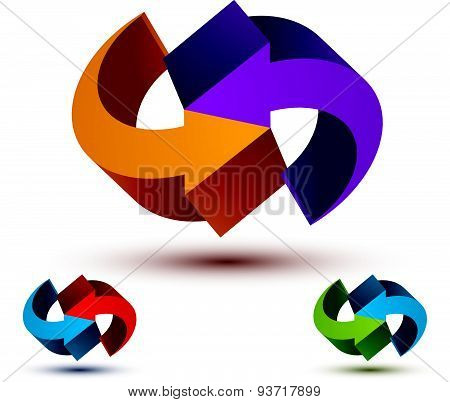 Infinite loop arrows vector abstract symbol, graphic design template 3d pictogram set.