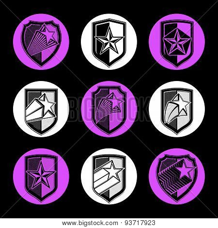 Heraldry, set of military forces emblems. Detailed shields with pentagonal star, decorative