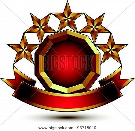 Vector glamorous round element with red filling, 3d polished five golden stars symbol