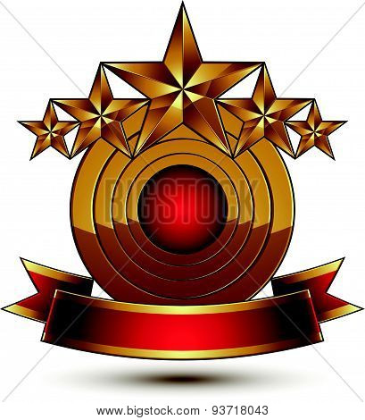 3d vector classic royal symbol with sophisticated five golden stars and red decorative wavy ribbon,