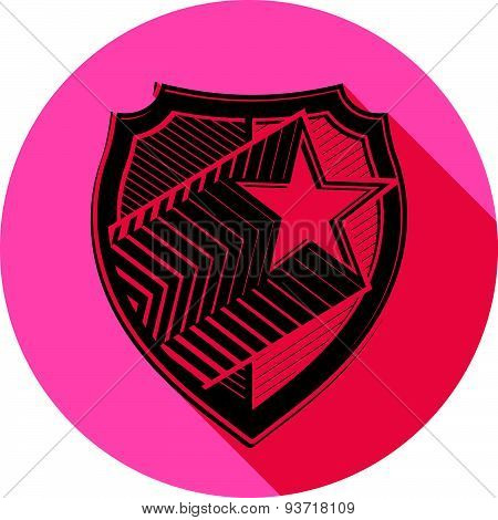Heraldry theme conceptual icon, protection shield isolated on white. Armed forces idea, graphical