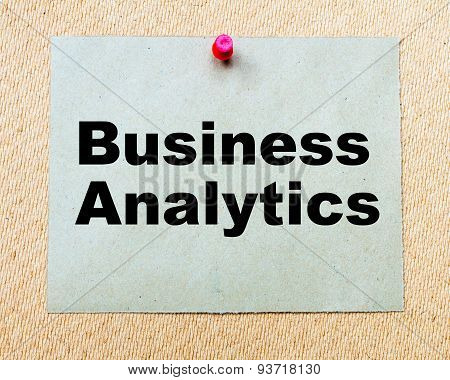 Business Analytics Written On Paper Note