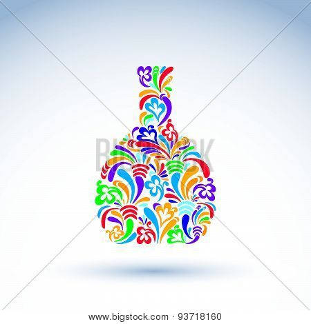 Flower-patterned bottle, alcohol and relaxation concept. Stylized flowery glassware. Graphic