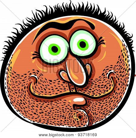 Funny cartoon face with stubble, vector illustration.