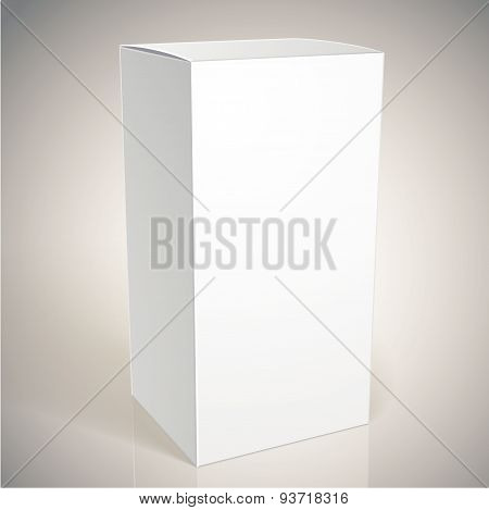 Realistic white package box for commodities, put your design over the pack in multiply mode, vector