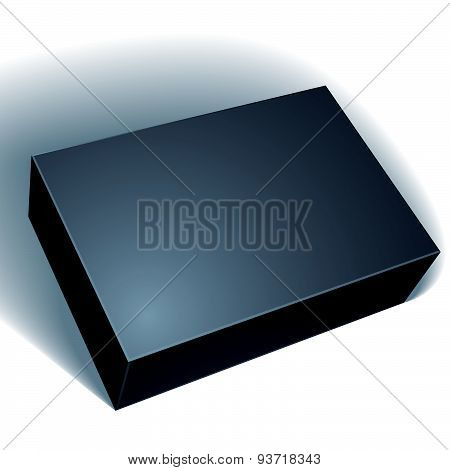 Package black box design isolated on white background, template for your package design