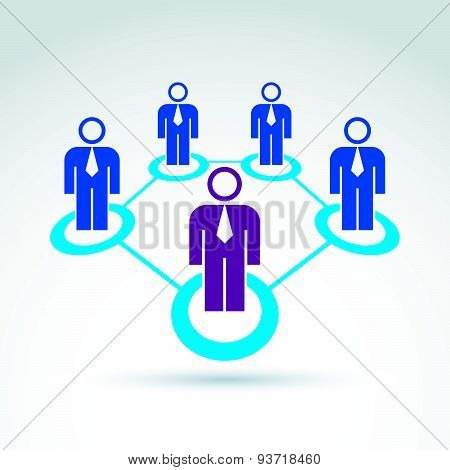 Structure symbol with silhouettes of people standing. Teamwork vector illustration, people