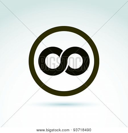 Vector infinity icon isolated on white background, illustration of eternity symbol placed in circle.