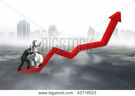 Business Man Push 3D Dollar Sign Upward At Starting Point