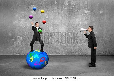 Boss Using Speaker Yelling Businessman Balancing On Sphere Juggling Balls