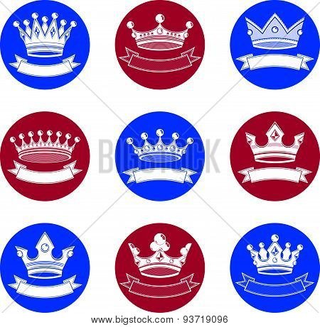Stylized royal 3d design elements, set of king crowns. Majestic symbols with decorative ribbon