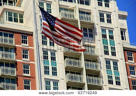 Gorgeous American flag outside modern building