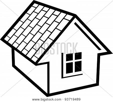 Simple mansion icon isolated on white background, abstract house. Country house, conceptual sign