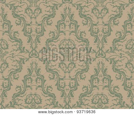 Vintage Brown And Blue Seamless Floral Pattern