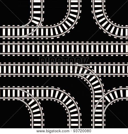Seamless background of railway tracks on black. Raster version