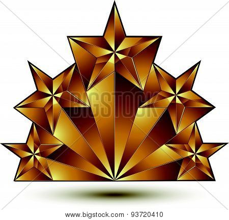 Geometric vector classic golden element isolated on white backdrop, 3d decorative pentagonal stars