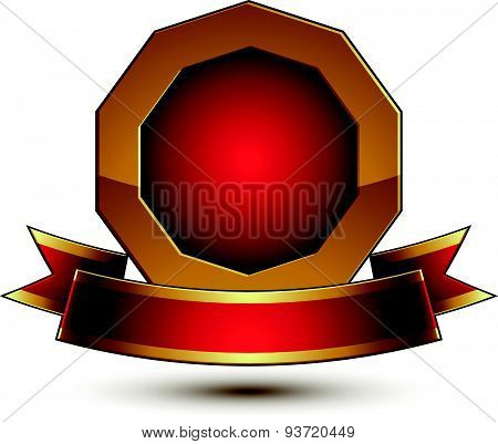 3d vector classic royal symbol, sophisticated golden ring with red wavy ribbon, celebrity emblem