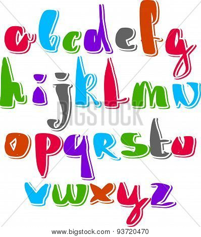 Handwritten vector script, alphabet letters set.