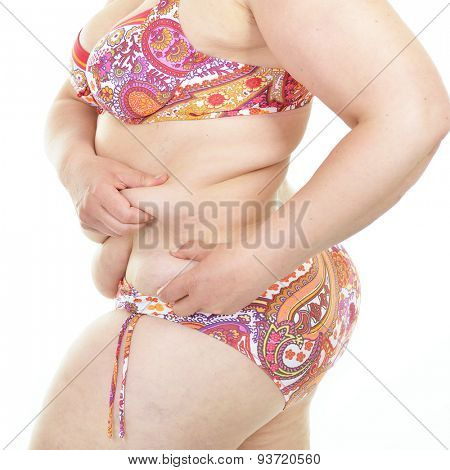Overweight woman, detail. Diet, fitness, excess weight, growing thin, sedentary life, balanced nutrition, overeating, cellulitis, problem of overweight concept. Fight against excess weight