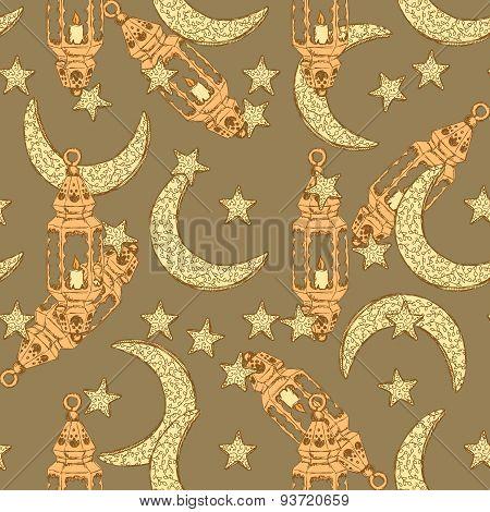 Sketch Ramadan Symbol In Vintage Style