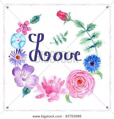 Sketch Floral Postcard In Vintage Style