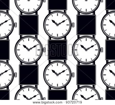 Seamless background with stylish wristwatches, elegant backdrop with dial and an hour hand. Time man