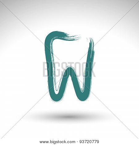 Hand drawn simple tooth icon, real ink brush drawing tooth symbol, hand-painted grinder