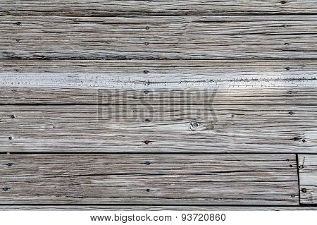 Worn Beach Planks With Rusty Nails