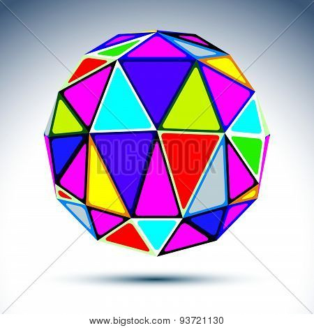 Abstract complicated 3d ball with jewels effect. Bright sphere constructed from dazzling geometric e