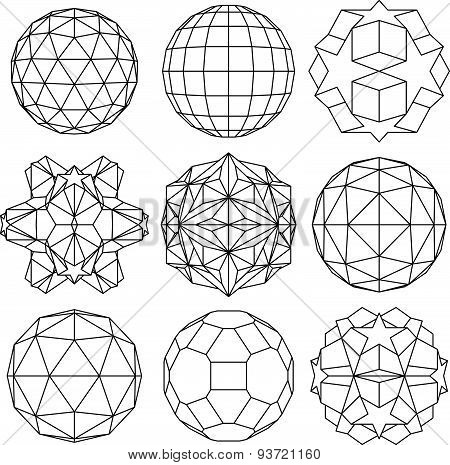 Collection of black and white complex dimensional spheres and abstract geometric figures. Set of fra