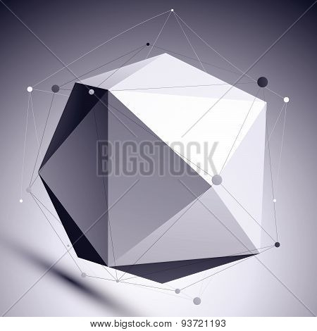3D vector abstract design scientific template, spherical complicated contrast figure with lines mesh