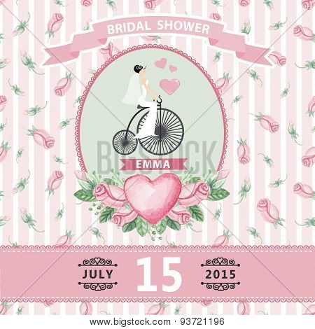 Wedding invitation.Bride,watercolor roses,retro bike