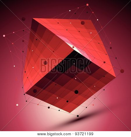 Spatial red squared technological shape, ruby wireframe object placed over shade background.