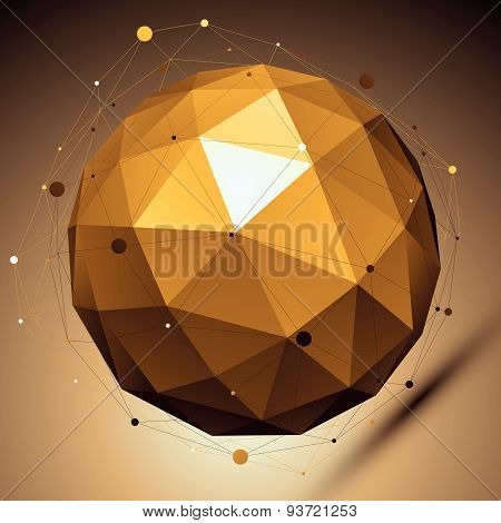 Gold spatial vector digital lattice backdrop, dimensional technology sphere with asymmetric wire mes