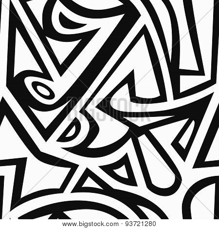 Monochrome Graffiti Seamless Pattern