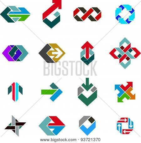 Abstract creative business icons vector collection, abstract stylish design elements set.