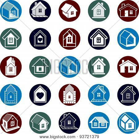 Cottages collection, real estate and construction theme. Houses  illustration