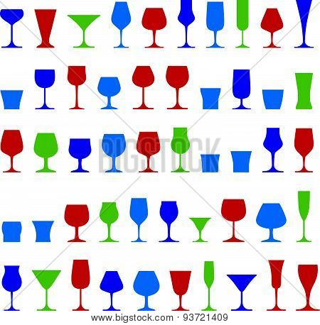 Decorative drinking glasses collection. Set of celebration goblets, simple glassware, can be used in