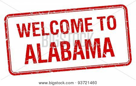Welcome To Alabama Red Grunge Square Stamp