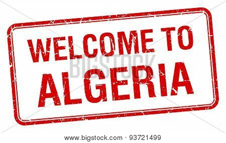 Welcome To Algeria Red Grunge Square Stamp
