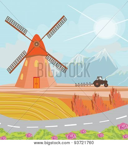Landscape With Windmill And Tractor