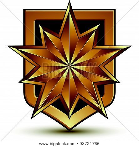 Vector glorious glossy design element with luxury 3d polygonal golden star, graphic template