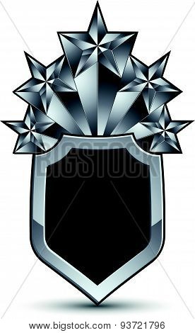 Sophisticated vector blazon with five silver stars, silvery 3d design element, metallic clear EPS8
