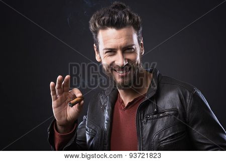 Confident Fashionable Man With Cigar