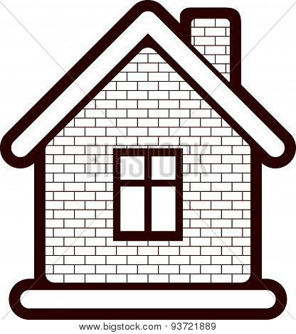 Simple village mansion icon, abstract house depiction. Country house, conceptual sign