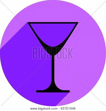 Classic empty martini glass, alcohol and entertainment theme illustration. Graphic