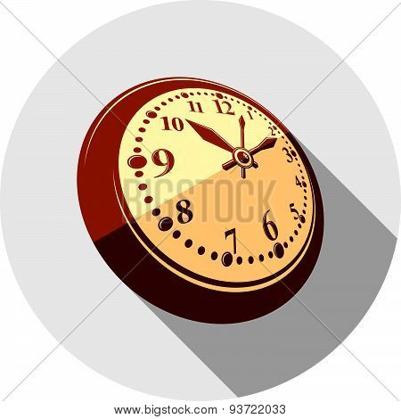 3d pocket watch, vector graphic illustration. Three-dimensional timer, classic stopwatch. Time manag