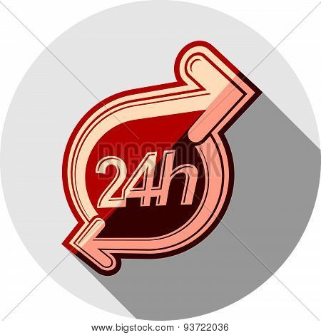 Twenty-four hours a day vector interface icon.  Time is running out idea symbol isolated on white, f