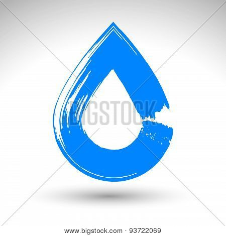 Hand painted blue water drop icon isolated on white background, simple natural drop symbol created w