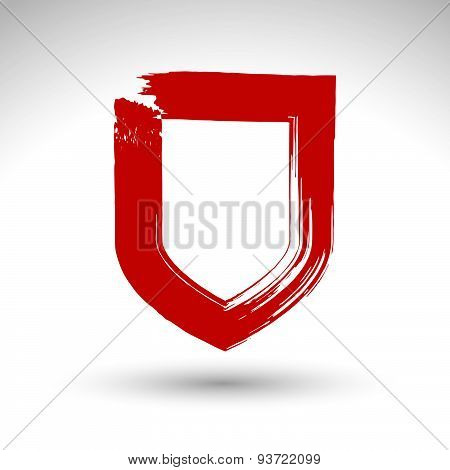Brush drawing vector security sign, blue hand-painted simple shield icon, protection symbol isolated